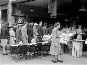 Londoners Waiting in Line for Wartime Rations