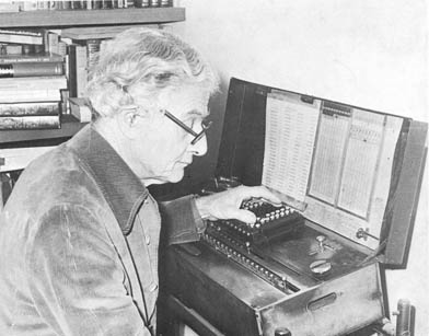 Frank Yates, a colleague of R.A. Fisher's at the Rothampsted Experimental Station, in his office in 1974, using the Millionaire calculating machine developed by and built for R.A. Fisher (ibid., 273-274).